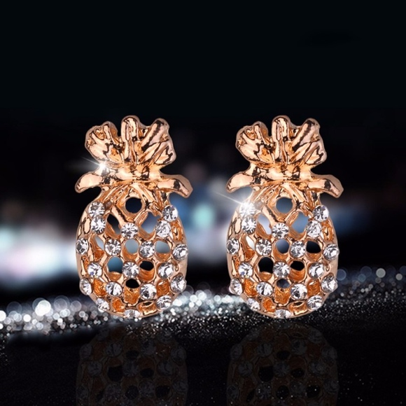 57c3cdde7026c Dainty Gold Pineapple Fruit CZ Stud Earrings Boutique